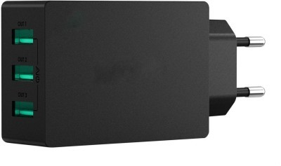 Black 3 Port 30W USB Wall Charger