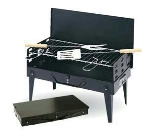 Black Portable Briefcase Style Folding Barbecue Grill