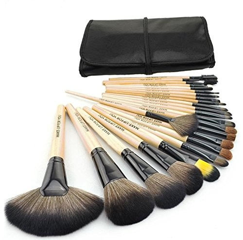 Cosmetic 24 Pcs Makeup Brush Set with Black Leather Case(Pack of 24)