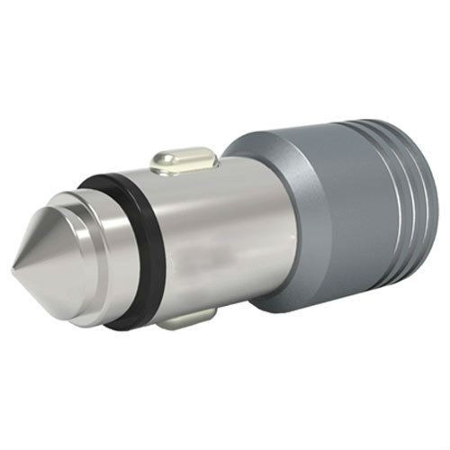 Grey Dual USB 4.8Amp - 12V Plug Car Charger with Glass Breaker Steel Tip