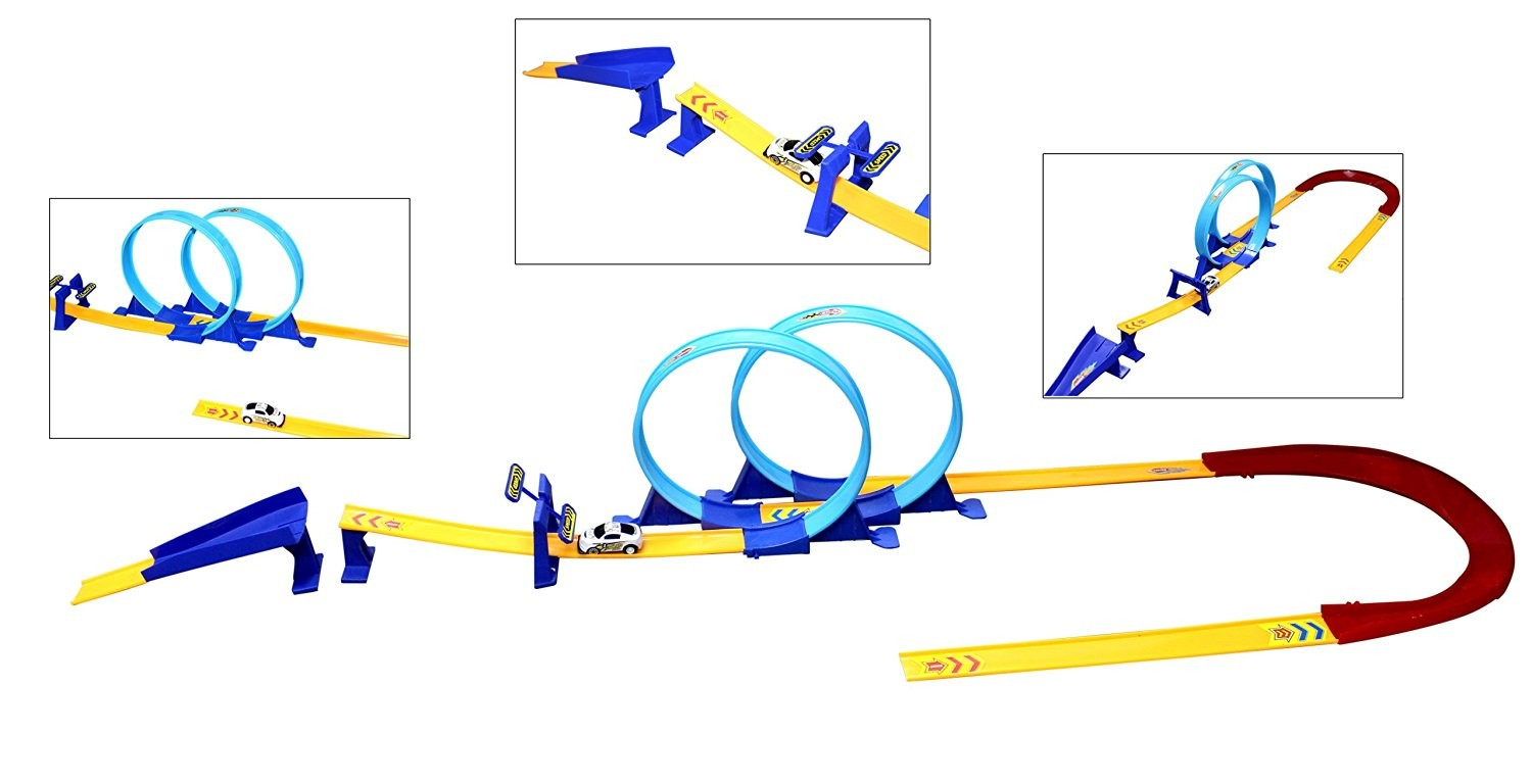 High Speed Multi-Loop Pull Back Car Racer Toy Track Set