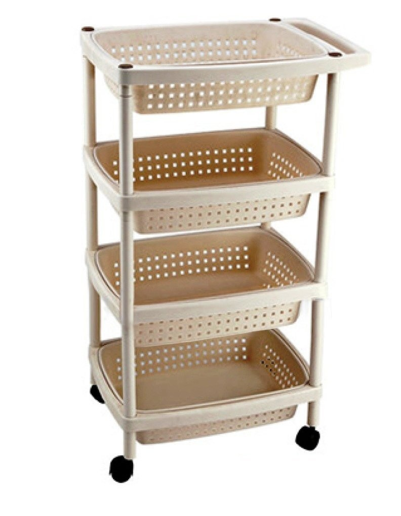 Multipurpose 4 Layer Home - Office Storage Rack With Wheels and Handle.