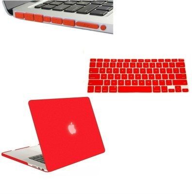 Red 13-Inch Rubberized Hard Case, Silicone Keyboard Guard & Anti dust Ports Cover with Retina Display Shell Cover for MacBook.