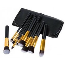 10 Piece Makeup Brush Set With Black Leather Case
