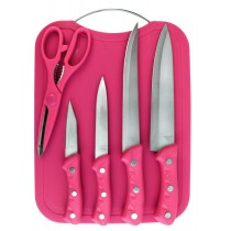 5 Piece Kitchen Knife Set with Chopping Board