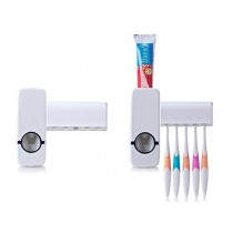Automatic One Touch Tooth Paste Dispenser Plastic Toothbrush Holder