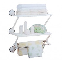 Bath Rack Plastic, Stainless Steel Wall Shelf