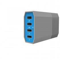 Blue Grey 4 Ports USB Charging Hub 6Amp