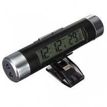 Car LCD Clip On Digital Backlight Automotive Clock with Thermometer