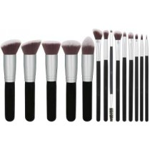 Foundations Concealers Eye Shadows Silver Black Makeup Brush Sets(Pack of 14)