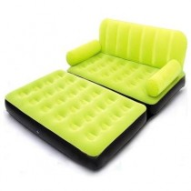 Green Double Velvet Sofa Cum Bed Air Lounge Inflatable