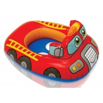 Red Fire Engine Shape Inflatable Swim Pool Water Float Ring Cruiser