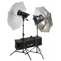 Interfit INT157 Stellar 750 X Tungsten Twin Umbrella Kit With Two Heads