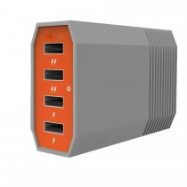 Orange Grey 4 Ports 6Amp USB Charging Hub