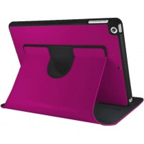 Pink Premium Leather 360 Degree Rotatable Slim Portfolio Case for Apple iPad Air