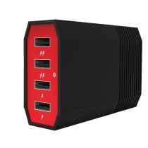 Red Black 4 Ports 6Amp USB Charging Hub