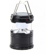 Solar Rechargeable 6 LED Camping Black Plastic Lantern