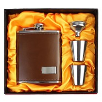 Stainless Steel Faux Leather Brown Hip Flask Set