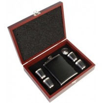 Stainless Steel Faux Leather Hip Flask Set in Wooden Gift Case.