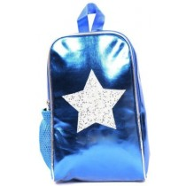 Synthetic Star Print Blue Backpack