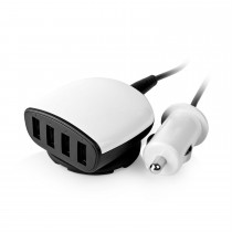 White 4 Usb Ports Car Charger