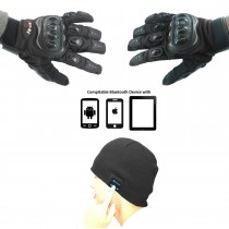 Wireless Bluetooth Winter Hat With Bluetooth Enabled Biker Gloves