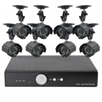 Black 2nd Generation 8 Camera Surveillance Kit