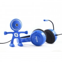 Blue Color Stereo Headset With Webcam