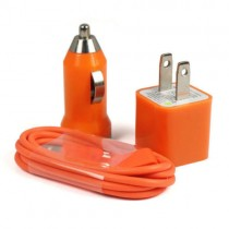 Orange Car Charger With USB Data Cable