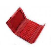 Red Wireless Bluetooth Keyboard PU Leather Stand Case Cover